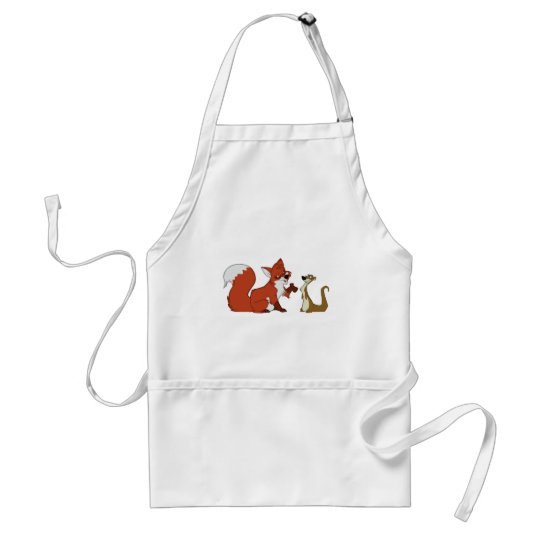 Fox and Weasel Talk Adult Apron