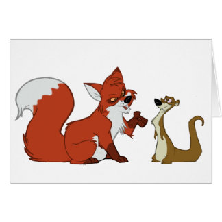 Fox and Weasel Talk Greeting Cards