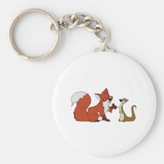 Fox and Weasel Talk Keychain