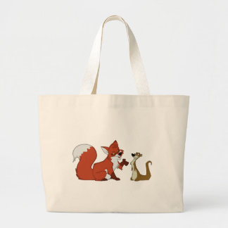 Fox and Weasel Talk Large Tote Bag