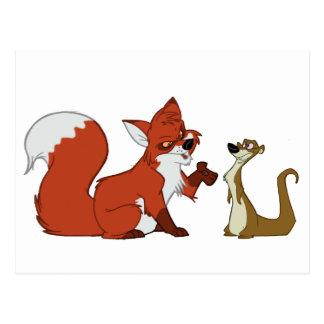 Fox and Weasel Talk Postcard
