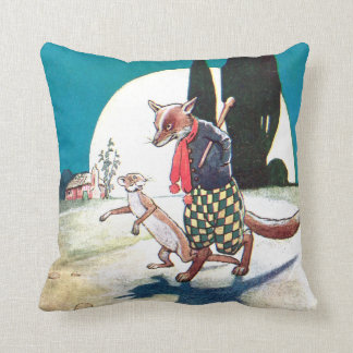 Fox and Weasel Under the Full Moon Throw Pillow