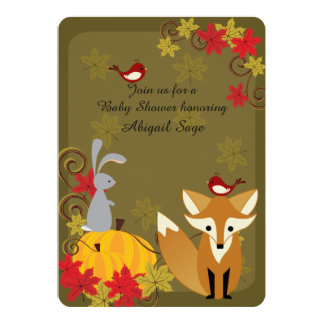 Fox and Woodland Animal Fall Baby Shower Invite