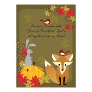 Fox and Woodland Animals Autumn 1st Birthday 5x7 Paper Invitation Card