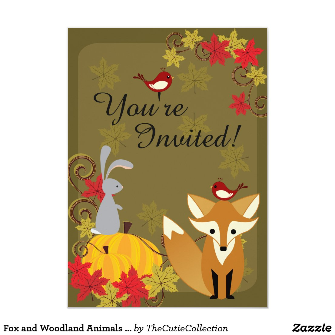 Fox and Woodland Animals Autumn Birthday Card