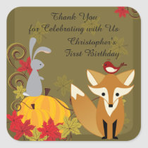 Fox and Woodland Animals Fall 1st Birthday Thanks Square Sticker