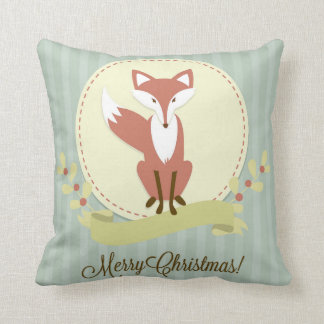Fox and Wreath Throw Pillow