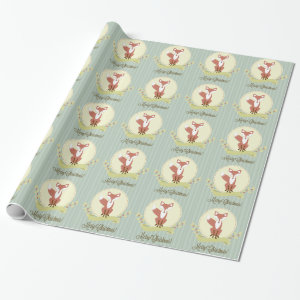 Fox and Wreath Wrapping Paper