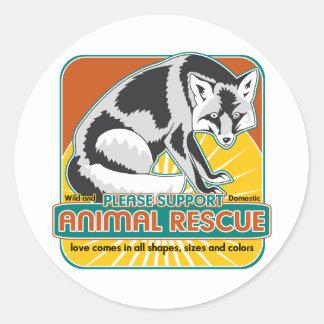 Fox animal del rescate pegatina redonda