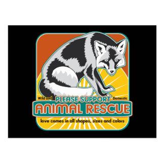 Fox animal del rescate tarjeta postal