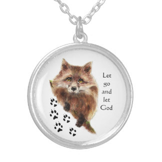 Fox Animal Inspiring Quote Let Go Let God Silver Plated Necklace