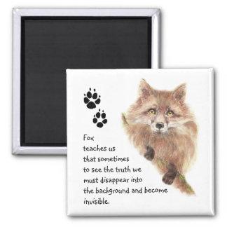 Fox, Animal Totem, Spirit Guide, Symbol 2 Inch Square Magnet