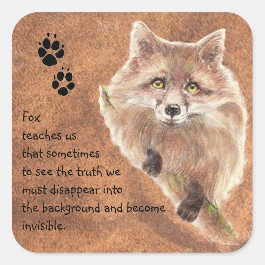 Fox, Animal Totem, Spirit Guide, Symbol Square Sticker