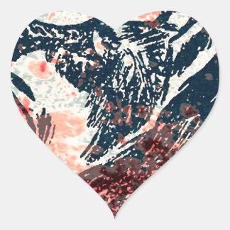 fox Art Heart Sticker
