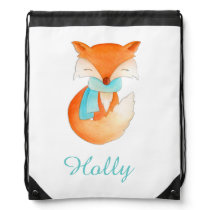 Fox art kids name aqua orange drawstring bag