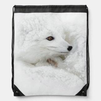 Fox ártico encrespado para arriba en invierno mochilas