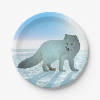 Fox ártico plato de papel de 7 pulgadas