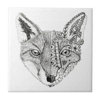 Fox artsy ilustrado mano única azulejo cuadrado pequeño