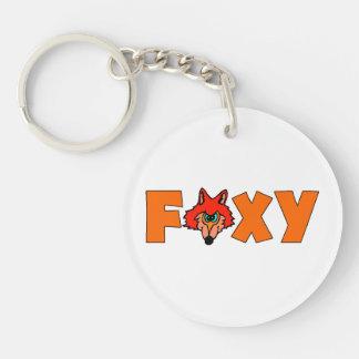 Fox astuto llavero redondo acrílico a doble cara
