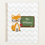 "Fox At Chalkboard Chevron Personalized Teacher Planner<br><div class=""desc"">A teacher planner featuring an illustration of a fox wearing a pair of glasses standing near a chalkboard with red apple.  Personalize with your name on front.</div>"
