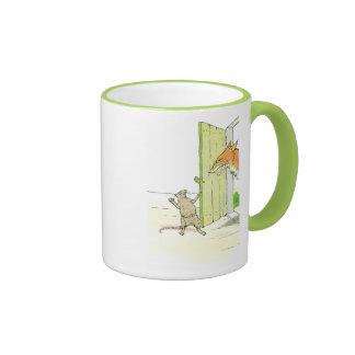Fox at the Door Ringer Coffee Mug