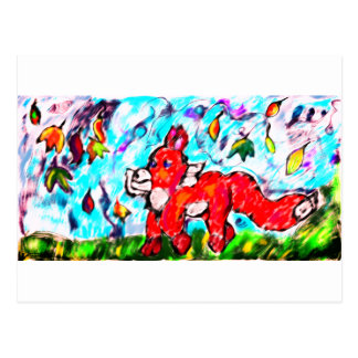 Fox autumn art two postcard