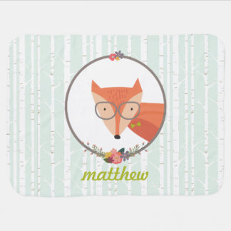 Fox Baby Boy Personalized Swaddle Blankets