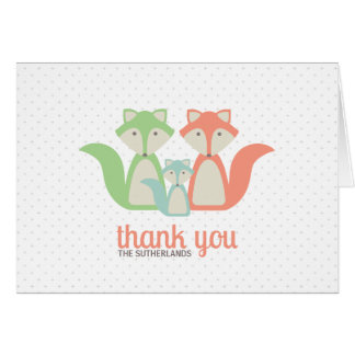 Fox Baby/Family Thank You Note Card