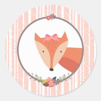 Fox Baby Girl Classic Round Sticker