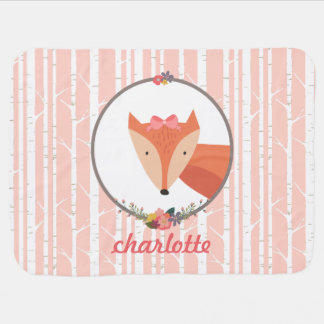 Fox Baby Girl Personalized Receiving Blankets