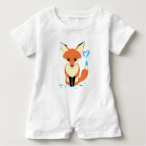 Fox Baby Painting Blue Heart With Tail Baby Romper