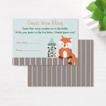 Fox Baby Shower Guess How Many Game Business Card