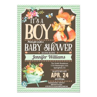 Fox Baby Shower Invitation, Woodland Boy Card