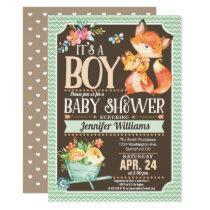 Fox Baby Shower Invitation, Woodland Boy Invitation