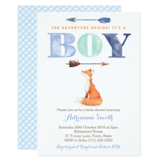fox baby shower invites, boy fall baby sprinkle card