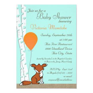 "Fox Balloon and Birch Woodland Baby Shower 5"" X 7"" Invitation Card"