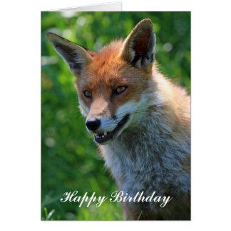 fox beautiful  happy birthday greeting card