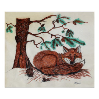 FOX Beneath Pine Bough Poster