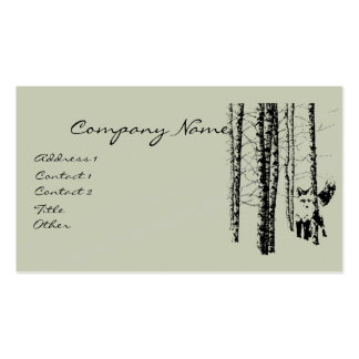 Fox Birch Tree Forest Animal Silhouette Nature Art Business Card