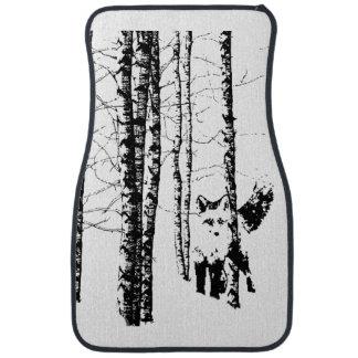 Fox Birch Tree Forest Animal Silhouette Nature Art Car Mat