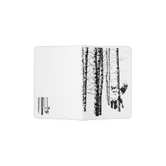 Fox Birch Tree Forest Animal Silhouette Nature Art Passport Holder