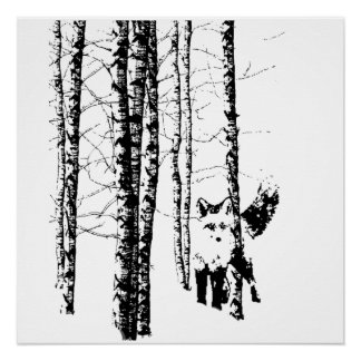 Fox Birch Tree Forest Animal Silhouette Nature Art Poster