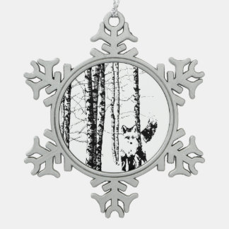 Fox Birch Tree Forest Animal Silhouette Nature Art Snowflake Pewter Christmas Ornament