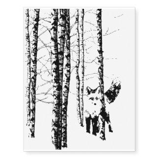 Fox Birch Tree Forest Animal Silhouette Nature Art Temporary Tattoos