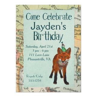 FOX & BIRD EXPLORE BIRTHDAY INVITATION
