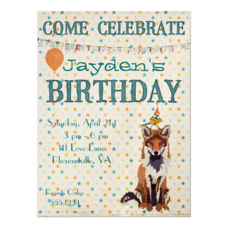FOX & BIRD STAR Birthday Invitation
