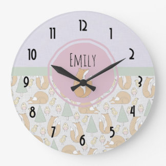 Fox, Birds and Trees Whimsical Pattern Large Clock