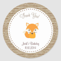 Fox Birthday Thank You Sticker Woodland