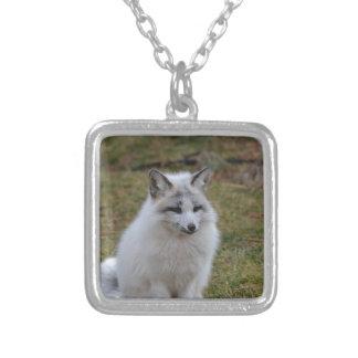 Fox blanco adorable colgante cuadrado