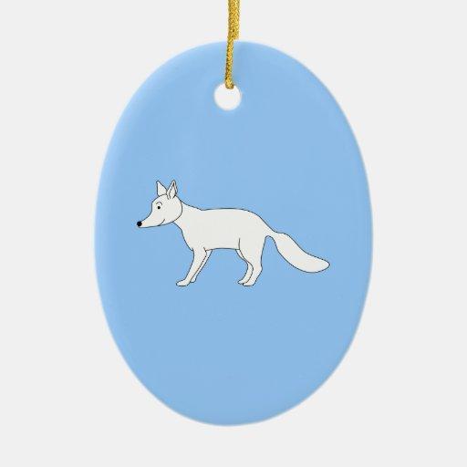 Fox. blanco adorno navideño ovalado de cerámica